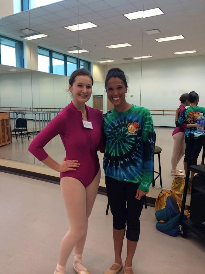 Senior Mary Ball poses for a picture with one of her idols and professional dancer after a dance lesson at a three week dance intensive in Florida.