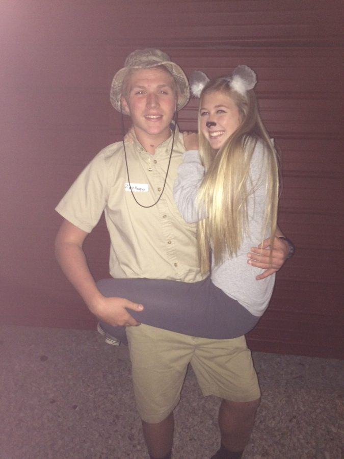Couples' costumes like that of  juniors Lauren Fife and Jordan King can add a little spunk to dressing up.