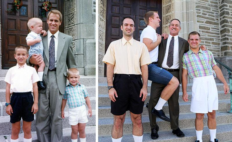 Recreating old photos can end up being the perfect gift for Mom.