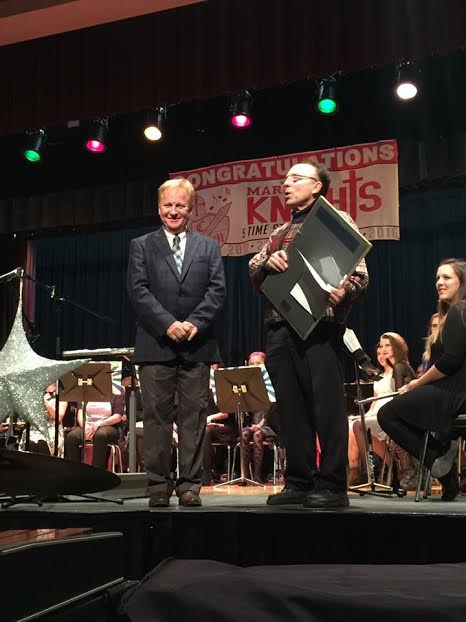 Band director Tim James was very grateful for his award.