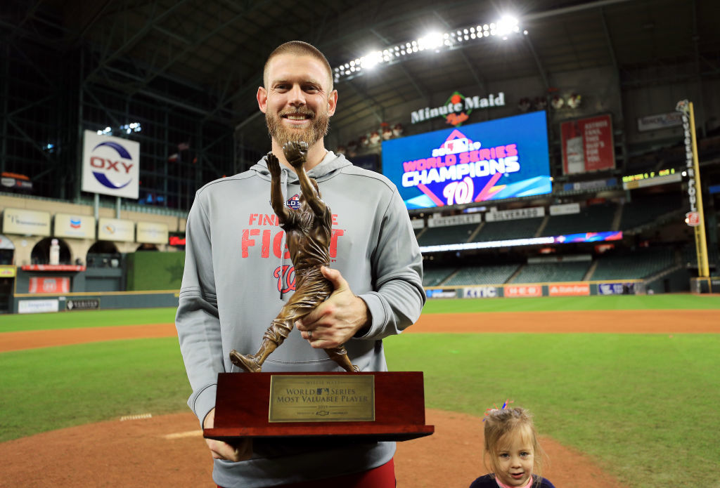 HOUSTON, TEXAS - OCTOBER 30:  Stephen Strasburg #37 of the Washington Nationals is awarded MVP after his teams 6-2 victory against the Houston Astros in Game Seven to win the 2019 World Series at Minute Maid Park on October 30, 2019 in Houston, Texas. (Photo by Mike Ehrmann/Getty Images)